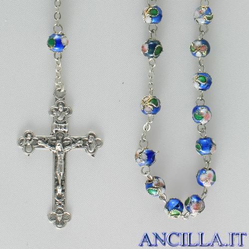 Corona del Rosario cloisonné grani 6 mm celeste