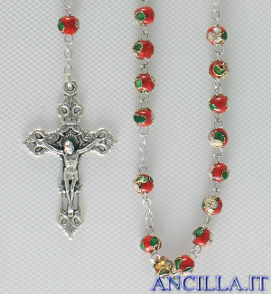 Corona del Rosario cloisonné grani 6 mm rosso