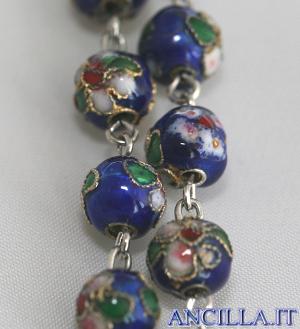 Corona del Rosario cloisonné grani 7 mm blu