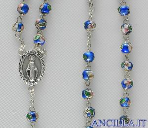 Corona del Rosario cloisonné grani 7 mm celeste