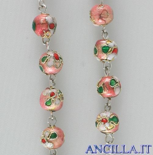 Corona del Rosario cloisonné grani 7 mm rosa