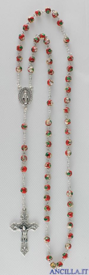Corona del Rosario cloisonné grani 7 mm rosso