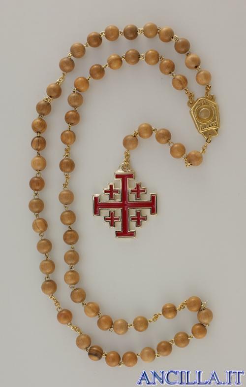 Corona del Rosario con grani in legno d'ulivo di Gerusalemme, crocera con acqua benedetta e croce smaltata