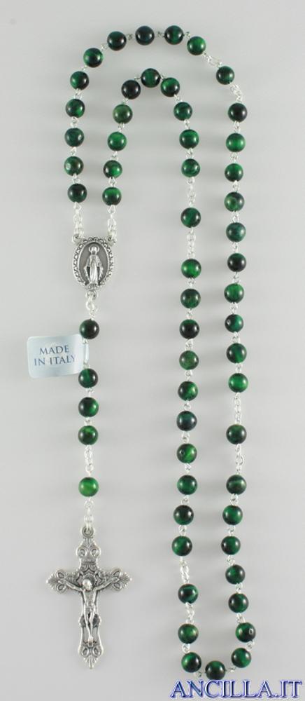 Corona del Rosario con grani in malachite