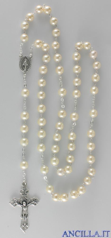 Corona del Rosario grani accopigliati in vetro cerato