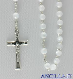 Corona del Rosario imitazione madreperla setata bianco
