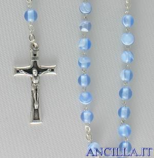Corona del Rosario imitazione madreperla setata celeste