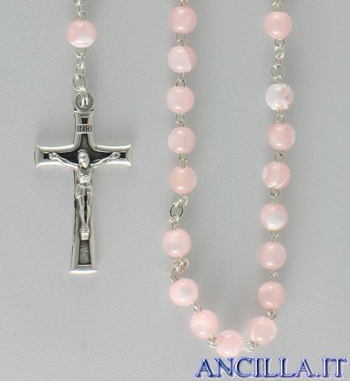 Corona del Rosario imitazione madreperla setata rosa
