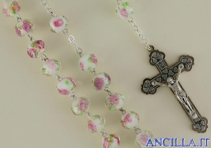 Corona del Rosario bianca in cristallo con rosellina e decorazioni oro