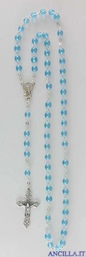 Corona del Rosario in ottone argentato con grani in vetro tondo acqua