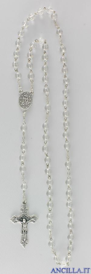 Corona del Rosario in ottone argentato con grani in vetro tondo bianco