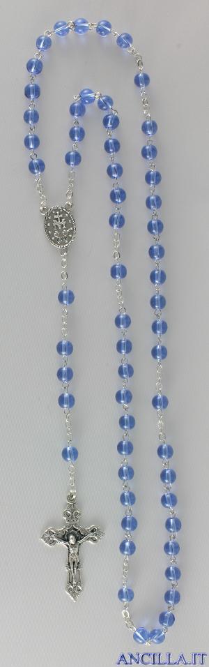 Corona del Rosario in ottone argentato con grani in vetro tondo celeste
