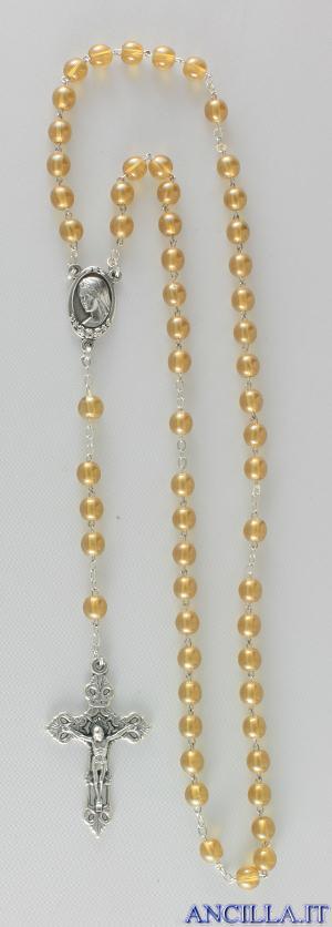 Corona del Rosario in ottone argentato con grani in vetro tondo giallo