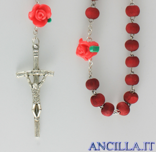 Corona del Rosario legno rosso profumato con pater rosellina rossa