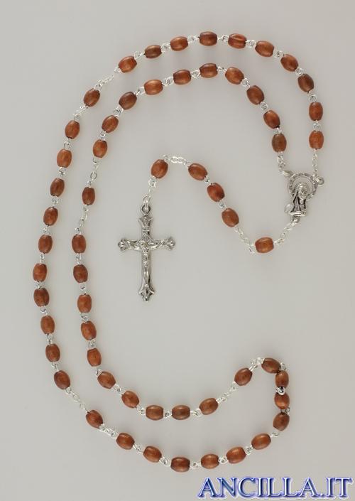 Corona del Rosario legno su catena grani ovali 5x7 naturale