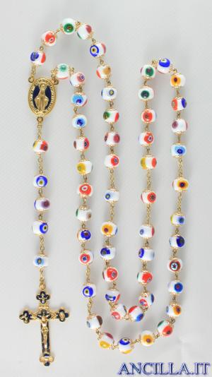 Corona del Rosario mosaico veneziano bianco e oro
