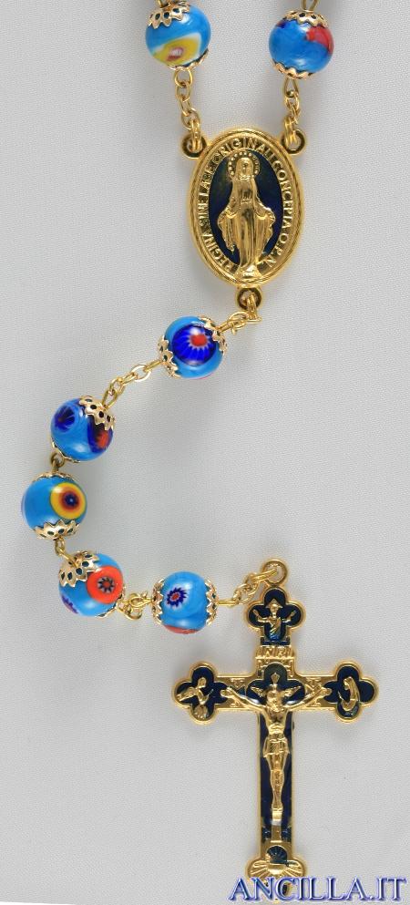 Corona del Rosario mosaico veneziano turchese e oro