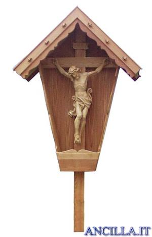 Croce da giardino in legno di larice con Cristo naturale resistente all'acqua
