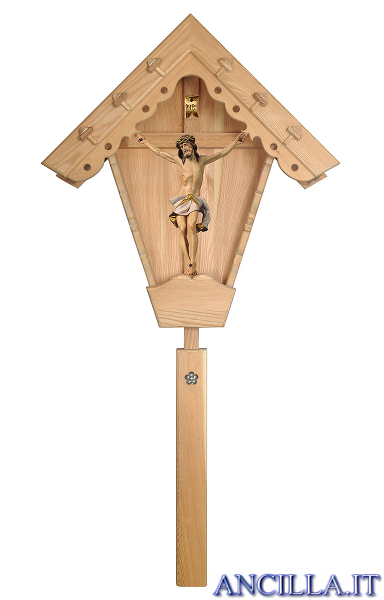 Croce da giardino in legno di larice con Crocifisso Nazareno dipinto a olio (bianco)