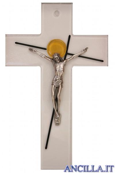Croce in vetro con bottone giallo e crocifisso