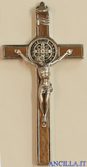 Croce-medaglia di San Benedetto in metallo intarsio legno naturale