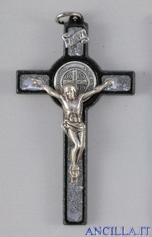 Croce-medaglia di San Benedetto legno nero e smalto argento