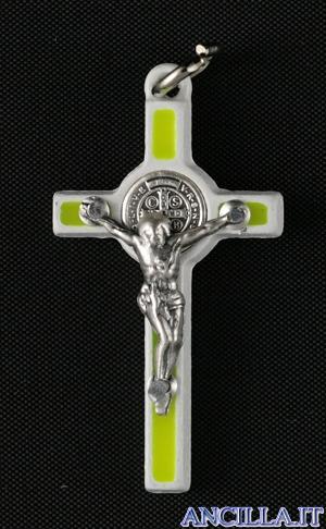 Croce-medaglia di San Benedetto smalto fluorescente