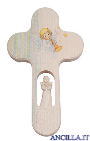 Crocetta colorata angelo che suona la tromba