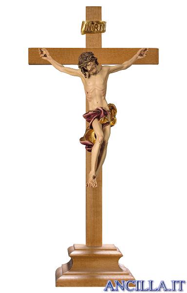 Crocifisso Barocco con base d'appoggio (rosso)