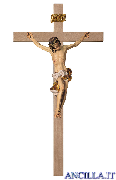 Crocifisso Barocco su croce liscia (bianco)