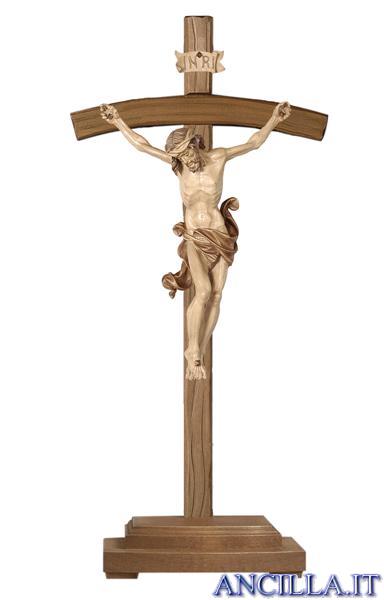 Crocifisso Leonardo brunito 3 colori - croce curva con base