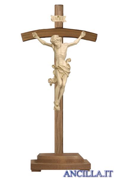 Crocifisso Leonardo cerato filo oro - croce curva con base