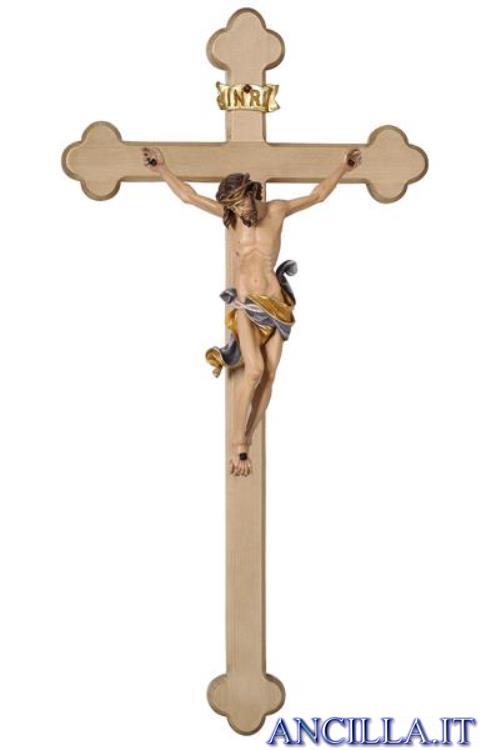 Crocifisso Leonardo dipinto a olio - croce barocca chiara