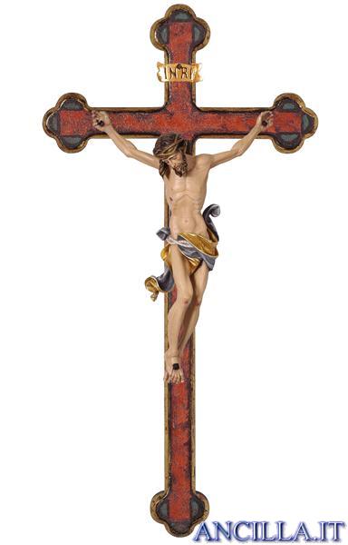 Crocifisso Leonardo dipinto a olio - croce oro barocca