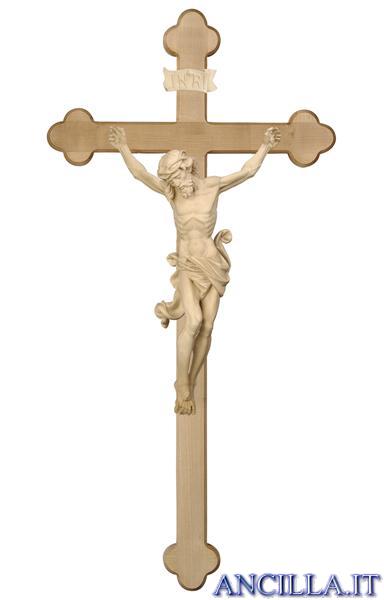 Crocifisso Leonardo naturale - croce brunita barocca