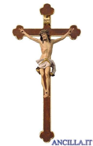 Crocifisso Nazareno dipinto a olio (bianco) - croce barocca