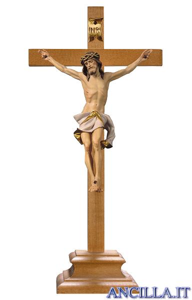 Crocifisso Nazareno dipinto a olio (bianco) - croce con piedistallo