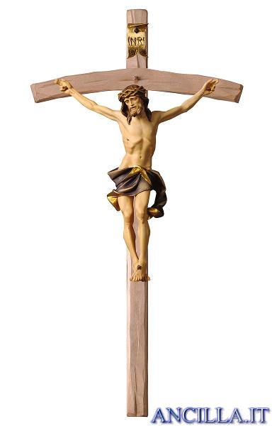 Crocifisso Nazareno dipinto a olio (blu) - croce curva