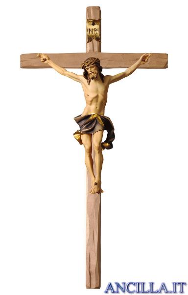 Crocifisso Nazareno dipinto a olio (blu) - croce diritta