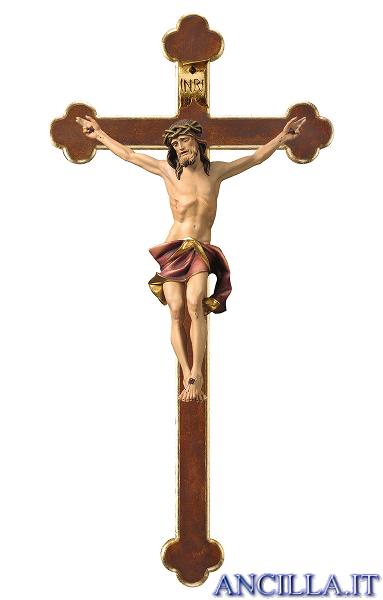Crocifisso Nazareno dipinto a olio (rosso) - croce barocca