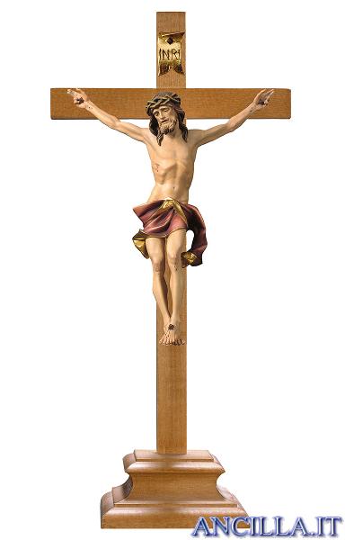 Crocifisso Nazareno dipinto a olio (rosso) - croce con piedistallo