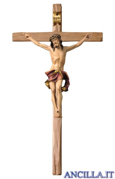 Crocifisso Nazareno dipinto a olio (rosso) - croce diritta