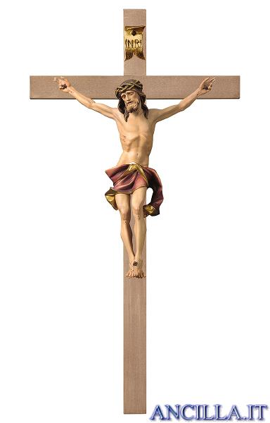 Crocifisso Nazareno dipinto a olio (rosso) - croce liscia