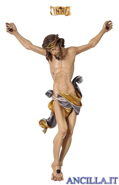 Crocifisso per processione Leonardo croce brunita barocca dipinto a olio