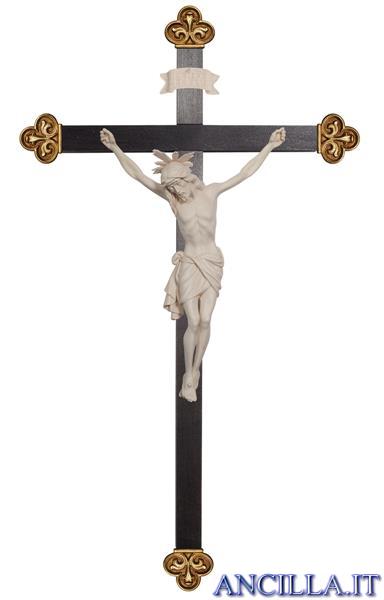 Crocifisso Siena con aureola legno naturale non dipinto - croce barocca