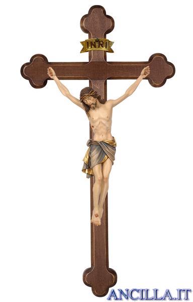 Crocifisso Siena dipinto a olio - croce brunita barocca