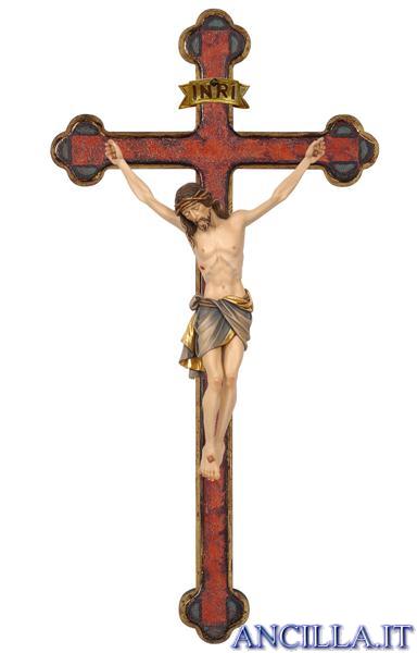 Crocifisso Siena dipinto a olio - croce oro barocca