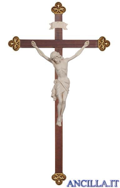 Crocifisso Siena legno naturale non dipinto - croce barocca