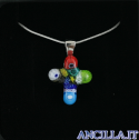 Collana con croce piccola stampo murrina multicolore