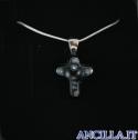 Collana con croce piccola stampo murrina nero